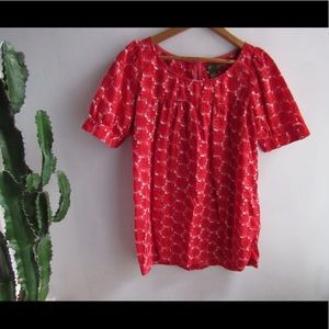 Cute Red Anthropologie top 181212018